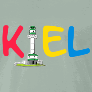 Kiel T-Shirt buntes Logo mit Friedrichsorter Leuchtturm